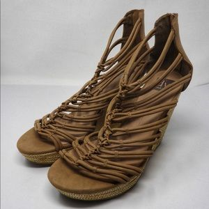 Dolce Vita DV Strappy Wedge Sandals Neutral SZ 13